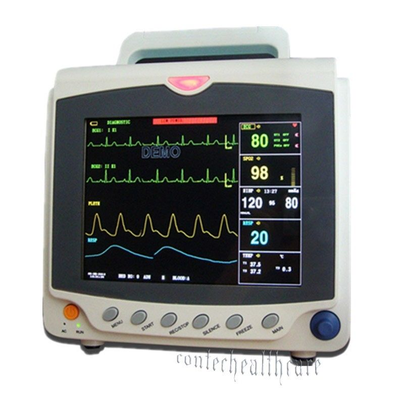 2016 equipment ICU Patient Monitor Vital Sign with ECG+NIBP+SPO2+PR 3y Warranty