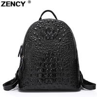Famous Brand Style Crocodile Pattern Genuine Leather Second Layer Cowhide Nappa Leather Women S Backpack Tote
