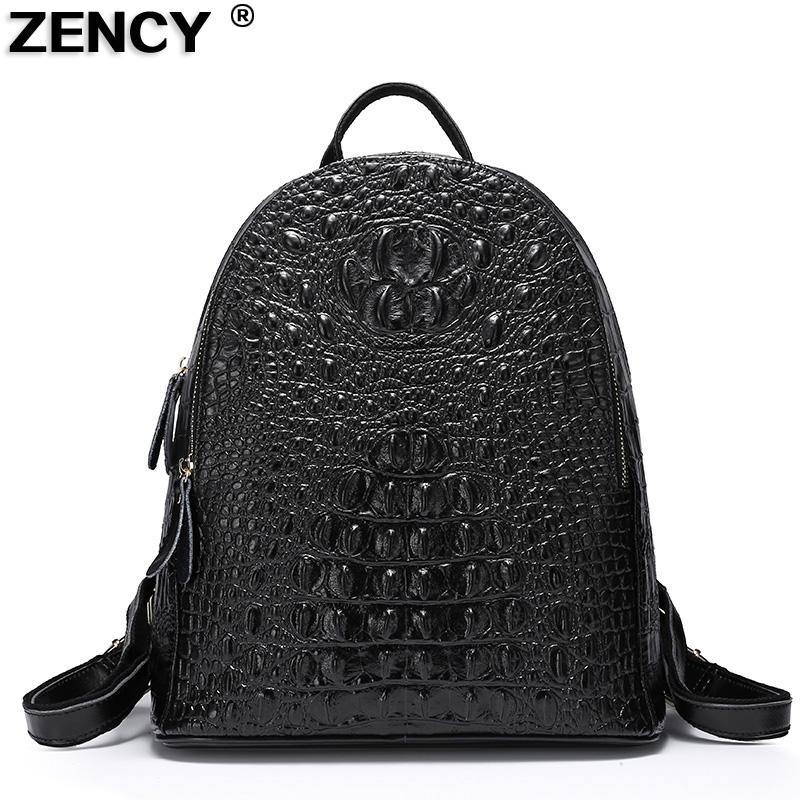 2018 Fashion Famous Brand Crocodile Real Genuine Leather Second Layer Cowhide Women Backpack School Shopping Bag Black Dark Blue
