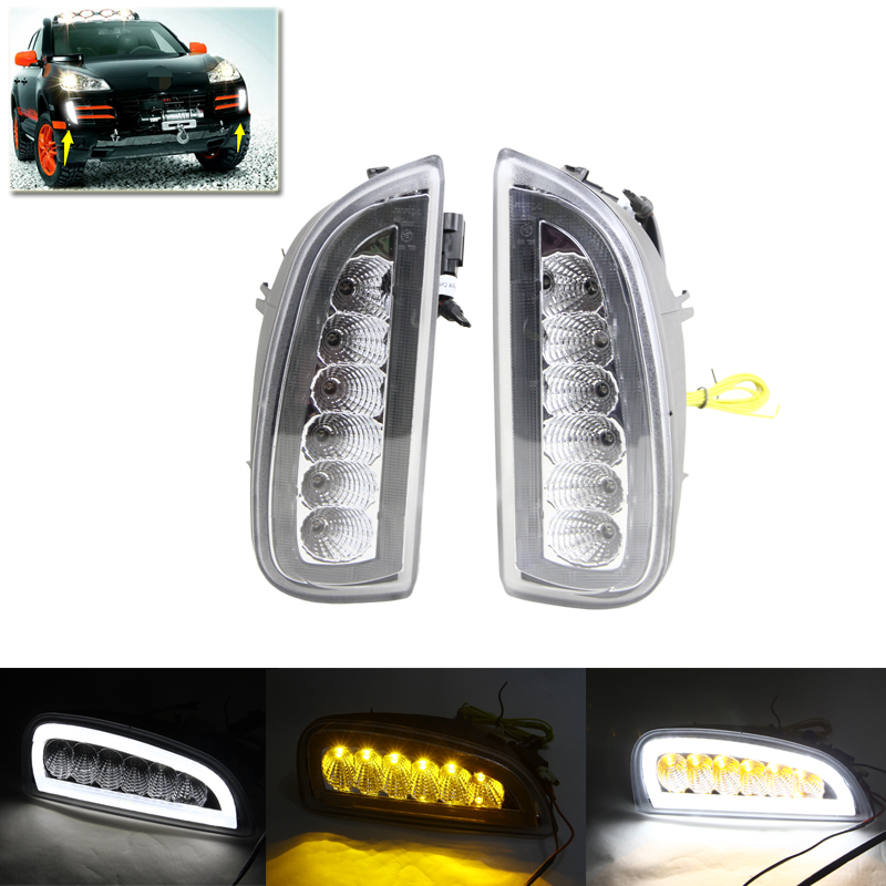New One Set Xenon White Led Daytime Running Light DRL Fog Lights For Porsche Cayenne 06-10 W/ Amber Turn Signal Lights Lamp 12