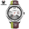 Tomoro new casual assista as mulheres se vestem moda relógios cores couro genuíno relógio de pulso de quartzo para homens relogio masculino amor 0214