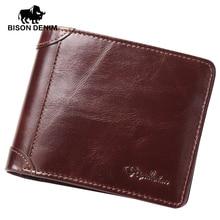 BISON DENIM High Quality Red Brown leather genuine wallet men purse card holder Brand men wallets dollar price Christmas Gifts