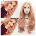 2016 fashion new styleKylie Jenner premium body wave 2T peach red synthetic lace front wig for white women free shiping in stock