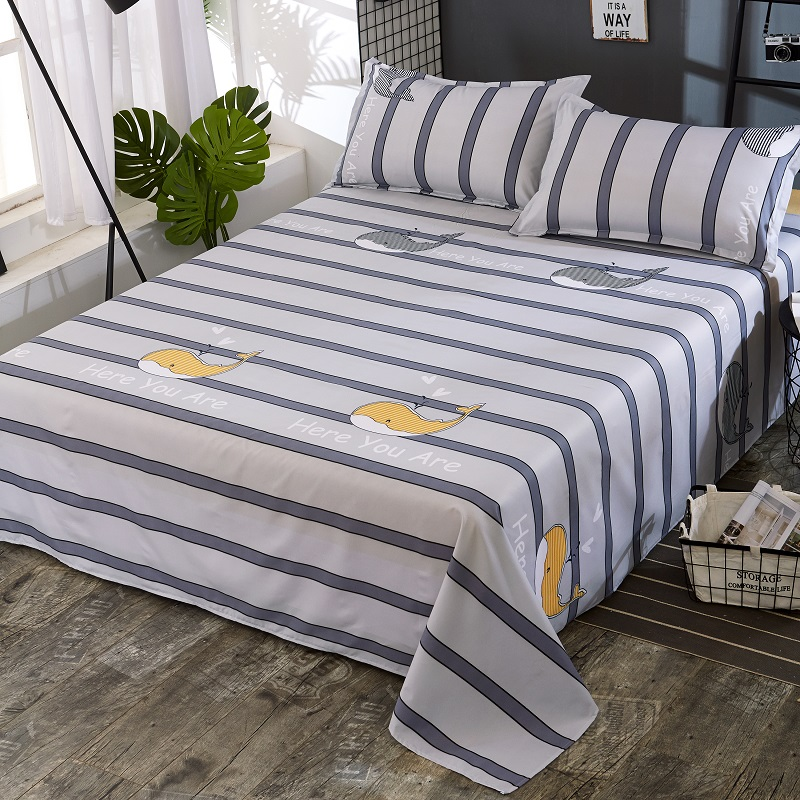 1pc 2018 New Polyester Bed Sheet Printed Sheet with Elastic Band Mattress Cover Hot Sale Fitted Sheet with Rubber Band