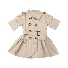 Emmababy 2019 New Summer Windbreaker Dress Kids Baby Girl Half Sleeves Button Turn-Down Collar Double-Breasted