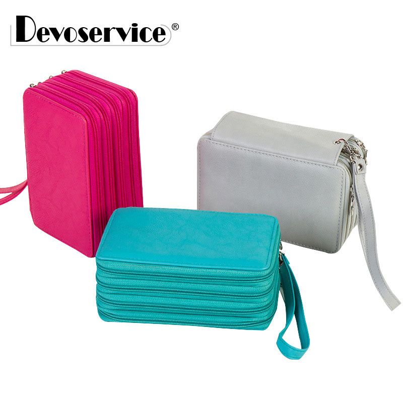 72 Holders 4 Layers Handy PU Leather Pencil Case Large Capacity Candy Color Pen Bag Pouch Makeup Holder Student School Supplies big capacity high quality canvas shark double layers pen pencil holder makeup case bag for school student with combination coded lock
