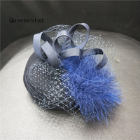 2018 Pure Wool Beret Fascinator Hat Headband Women Wedding Feather Headwear Hairband Derby Cocktail Party Ladies Veil Headpieces