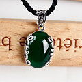 Vintage 925 sterling silver jewellery  retro thai silver set yellow green chalcedony agate round necklace pendants for women