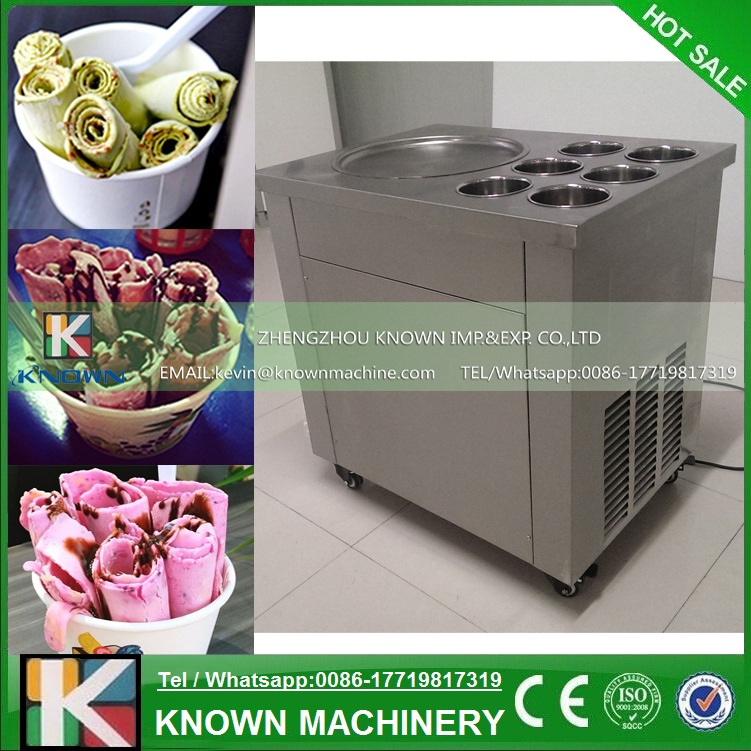 The 220V / 110V Single Round Ice Pan And 6 Topping Tanks Of Fried Ice Cream Roll Machine With Temperature Control System