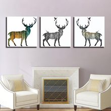 HD Paintings Wall Decor 3 Panel Modern Home Cafe Leisure Club Decoration Painting Abstract Animal Deer Mural COLOMAC(China)