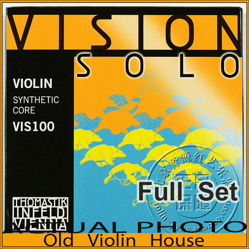 Original Thomastik Vision Solo (VIS100)4/4 Violin Strings Full Set Med Alum-D, Made in Austria ,Free shipping free shipping evah pirazzi violin strings full set ball end made in germany for 4 4