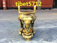 Tibetan Buddhist bronze elephant statue burner Incense & Incense Holders 17 cm Garden Decoration 100% real Tibetan Silver Brass
