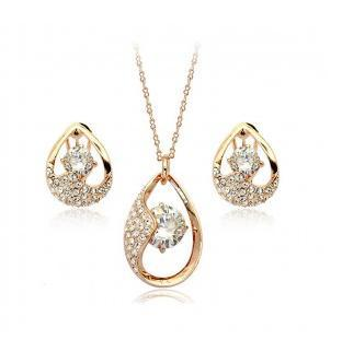 Fashion New Super Flash Hearts And Earrings Necklaces For Women Jewelry Sets CS229B14 ABC