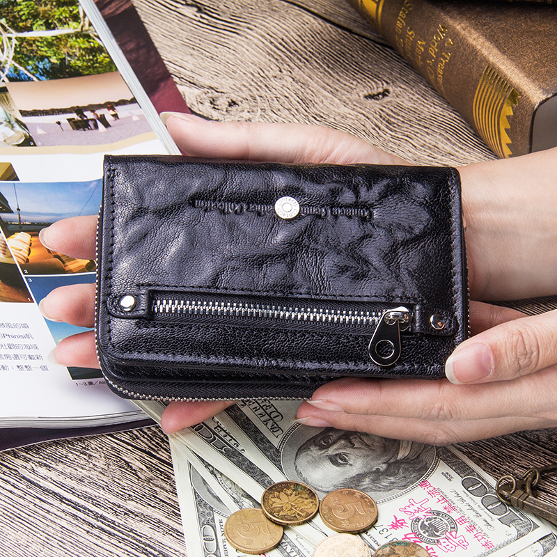 Image 5 - Contacts Genuine Leather Women Wallets 2020 New Female Short Zipper Purses Sheepskin Wallet Card Holder With Coin PocketsWallets   -