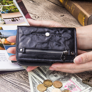 Image 5 - Contacts Genuine Leather Women Wallets 2020 New Female Short Zipper Purses Sheepskin Wallet Card Holder With Coin Pockets