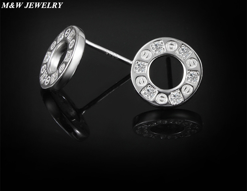M&W JEWELRY Hot Fashion 100% 925 Sterling Silver Forever Circular Stud Earrings For Women Authentic Original Jewelry Gift