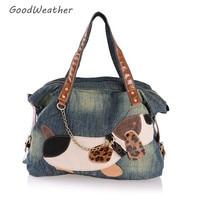 Casual big dog print denim shoulder bag high quality blue jeans handbag woman large capacity weekend tote bags for travel