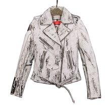 Newest Genuine Sheepskin Leather Suede Moto Biker Jacket Coats Spray Printing Women Slim Outerwear Coats Overcoat VF5001