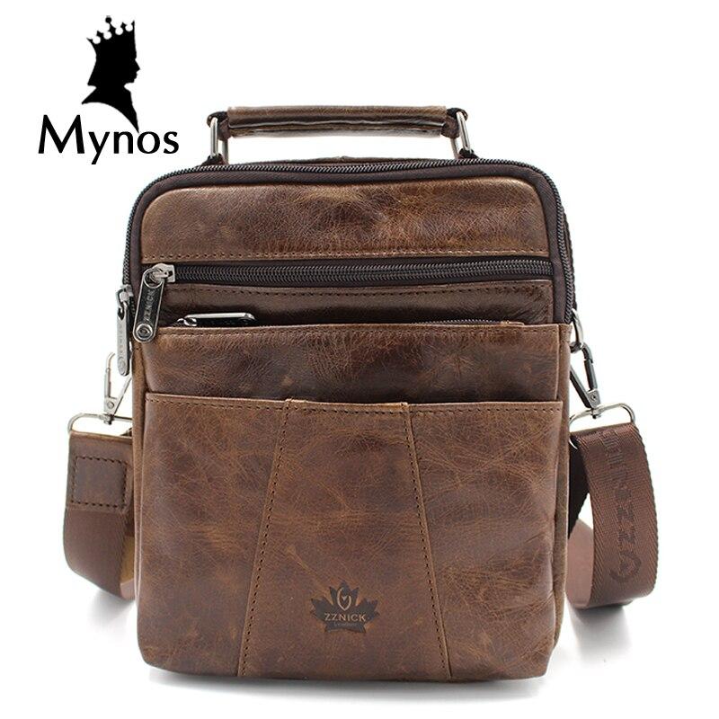 New Fashion Men Bag 100 Cow Leather Vintage Crossbody Bag Genuine Leather Handbag Shoulder Bag For