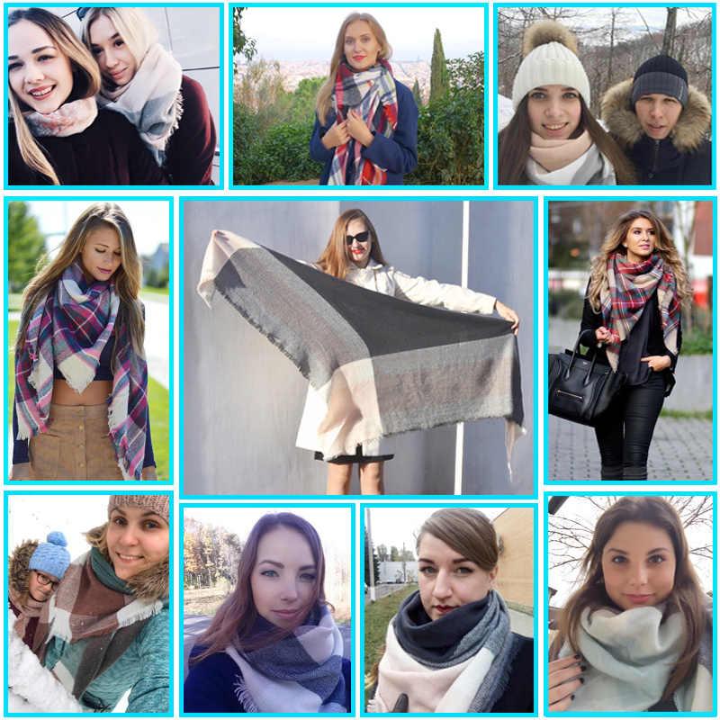 2019 Musim Dingin Kasmir Syal Wanita Syal Syal Kotak-kotak Selimut Baru Desainer Wanita Segitiga Pashmina Selendang dan Syal 140*140*210 Cm
