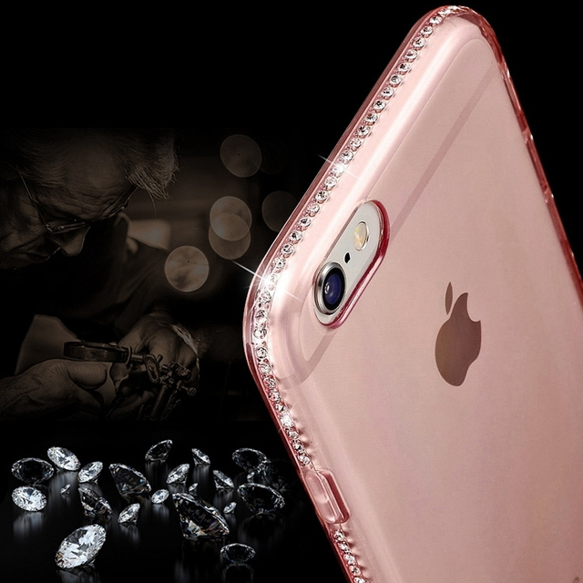 LANKEY Silicone Clear Cases for iphone 5 5S se 6 6s 7 Plus Transparent Diamond Soft Cover Accesories Rhinestone