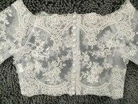 Real Photo Women Wedding Bridal White Ivory Half Sleeve Quality Lace Wedding Wraps Simple Plus Size