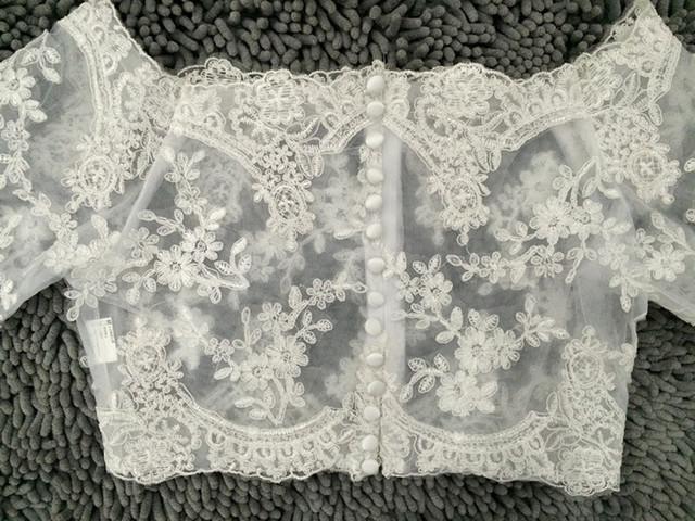 Real Photo mulheres Casamento nupcial branco / marfim meia manga qualidade do Casamento do laço quebra de noiva tamanho simples mais jaqueta Casamento