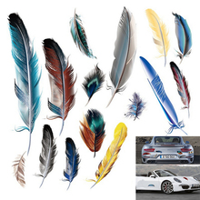 Funny 3D Cartoon Colorful Feather Aotu Car Stickers Decal Vinyl Cover Body Scratched Styling Motorcycle Accessories