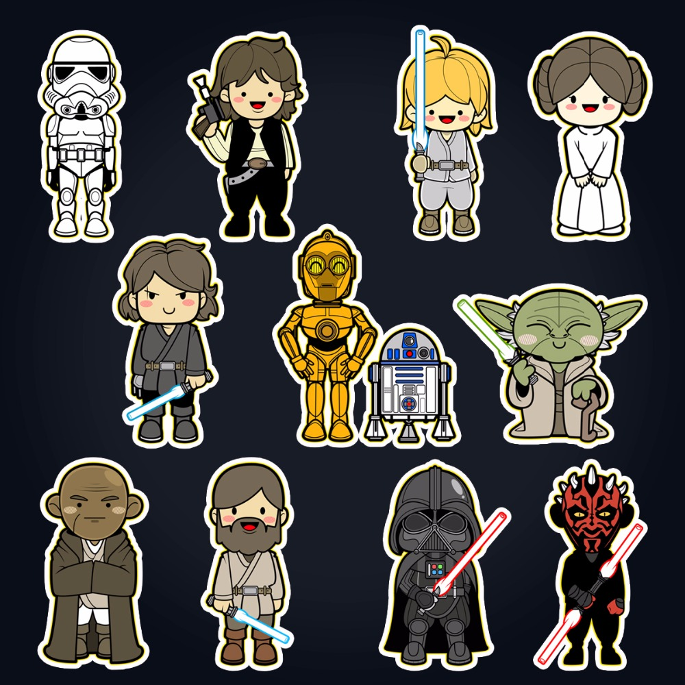 star wars 11 classic characters laptop stickers for diy partial