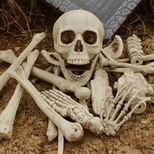 28 pcs broken bone skull haunted halloween decoration for home props horrifying human skeletons halloween party decoration