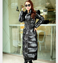 Europe New Fashion Women Winter Coat Big yards Thick Fur collar Hooded Warm Coats Elegant Slim Super long Down jacket G1950