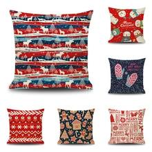 Christmas Pillow Case Cute Snowman Printing Dyeing Sofa Bed Home Decor Pillow Cases Xmas 45x45cm Square Flax Cushion Covers недорго, оригинальная цена