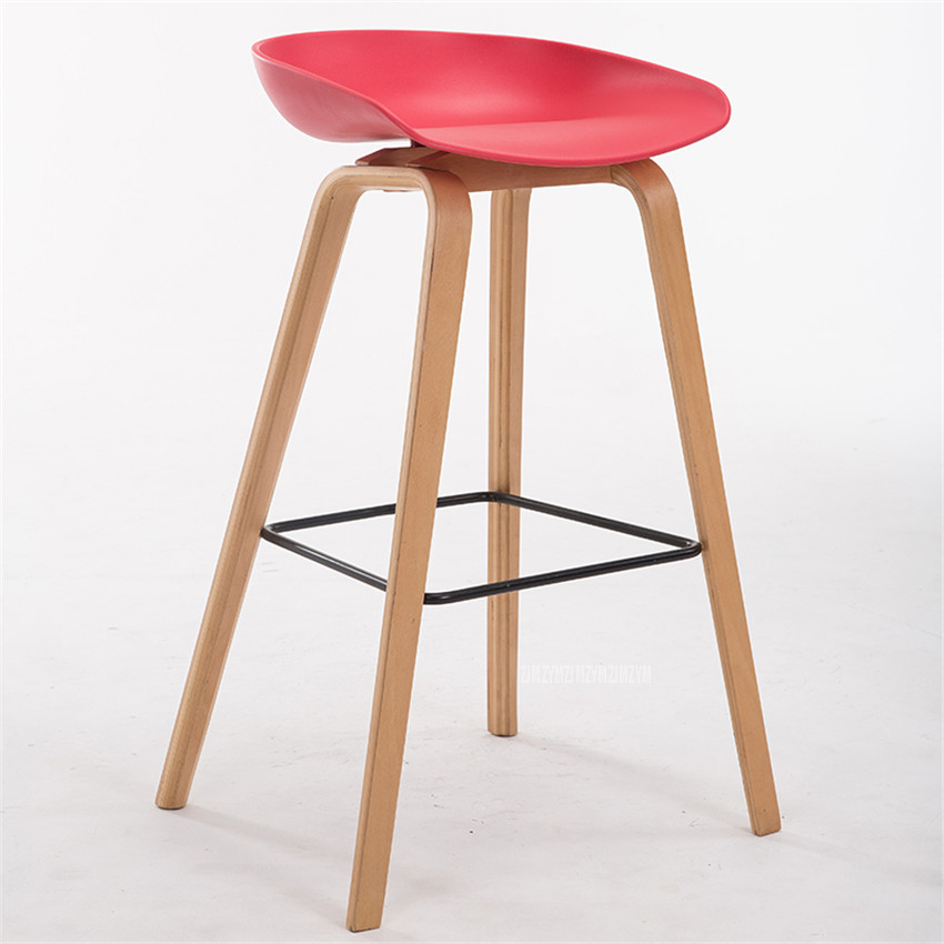 1PC Minimalist Modern Solid Wood ABS Bar Chair Counter Bar Stool Northern Wind Fashion Creative Popular Furniture Stool 65/75cm