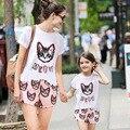 2015 семейный комплект одежды мать и дочь одежда хлопок характер печать мода с коротким рукавом семьи комплект бесплатная доставка