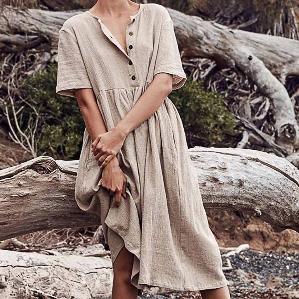 Women O-Neck Dresses Button Pure Color Short Sleeve Cotton And Linen Easy Dress Polyester Mid-Calf Solid Summer Dress C30508