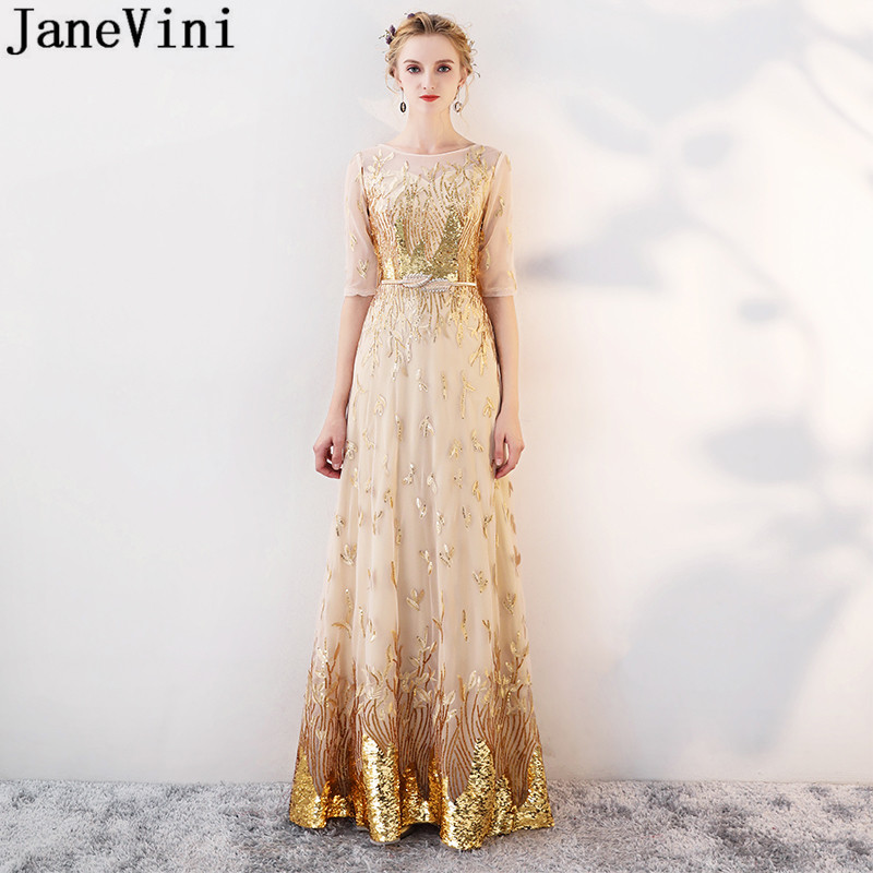 JaneVini Shinning Gold Sequins Long   Bridesmaids     Dresses   With Half Sleeves 2019 Ladies Godmother Wedding Party   Dress   Damigella