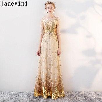 1ee02b436d JaneVini brillante oro lentejuelas largo vestidos de damas de honor con la  mitad de mangas 2019 señoras madrina