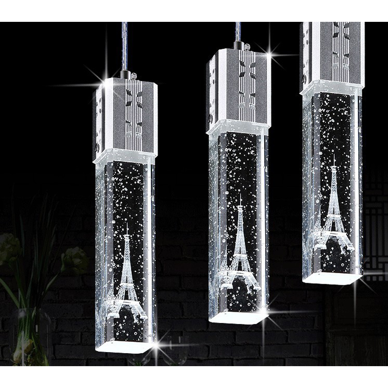 1/3/4/6 heads lamps glass pendant lights 3 head contracted Led crystal lamp droplight Tower crystal pendant lamp FG719 LU1024