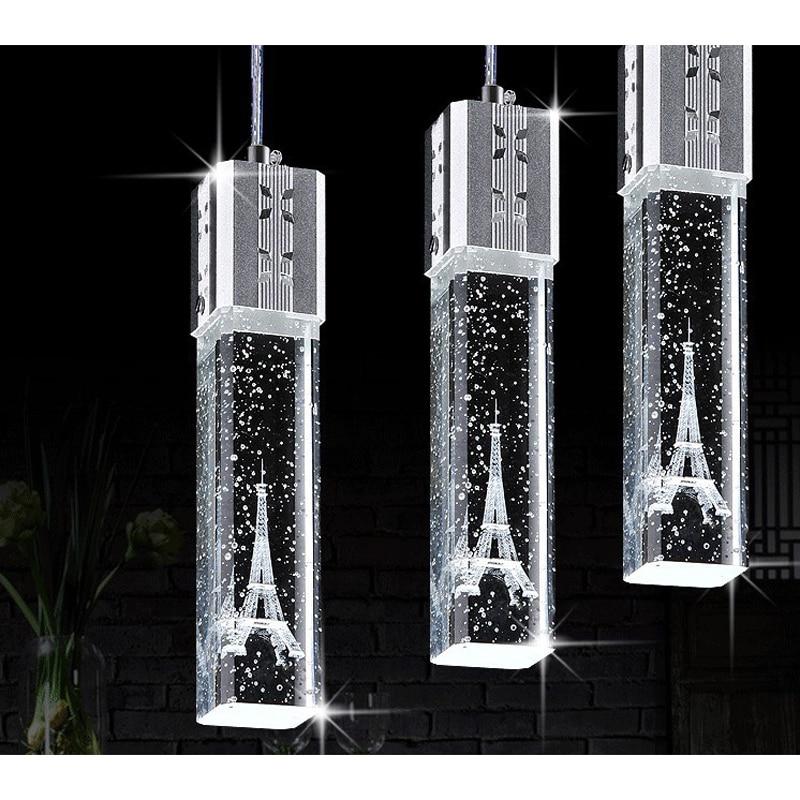 Фотография 1/3/4/6 heads lamps glass pendant lights 3 head contracted Led crystal lamp droplight Tower crystal pendant lamp FG719 LU1024