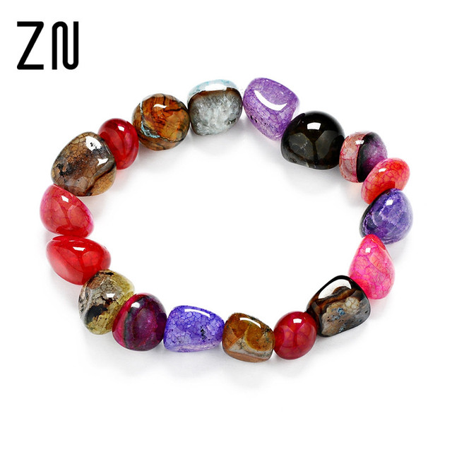 Fashion Healing Crystals Natural Stone Strand Bracelets For Women Colorized