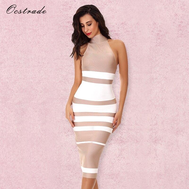 Ocstrade Vestido Midi Elegant High Quality Women Fashion 2018 Summer Nude&White Stripe Bodycon Bandage Dress Rayon Party Dresses