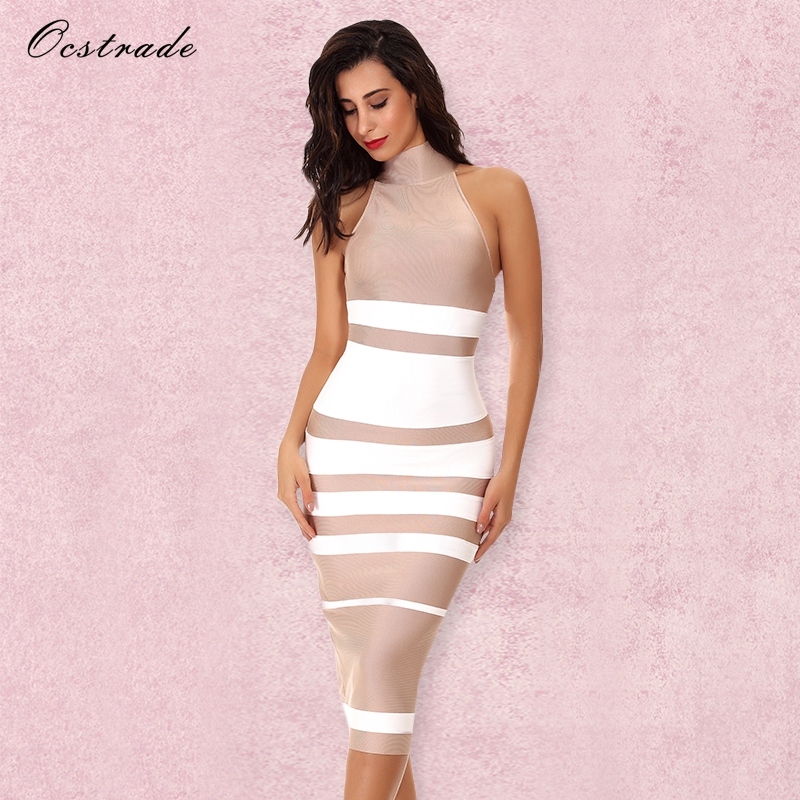 Ocstrade Vestido Midi Elegant High Quality Women Fashion 2018 Summer Nude&White Stripe Bodycon Bandage Dress Rayon Party Dresses