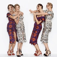 Haute Couture Alice McCall Çiçek Nakış Elbise Modelleme Getirdi Slash Boyun Parti Elbise