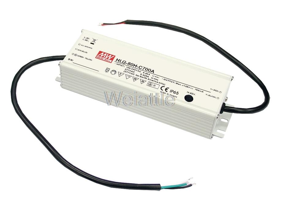 цена на MEAN WELL original HLG-80H-C350D 167V ~ 257V 350mA meanwell HLG-80H-C 89.95W LED Driver Power Supply D Type