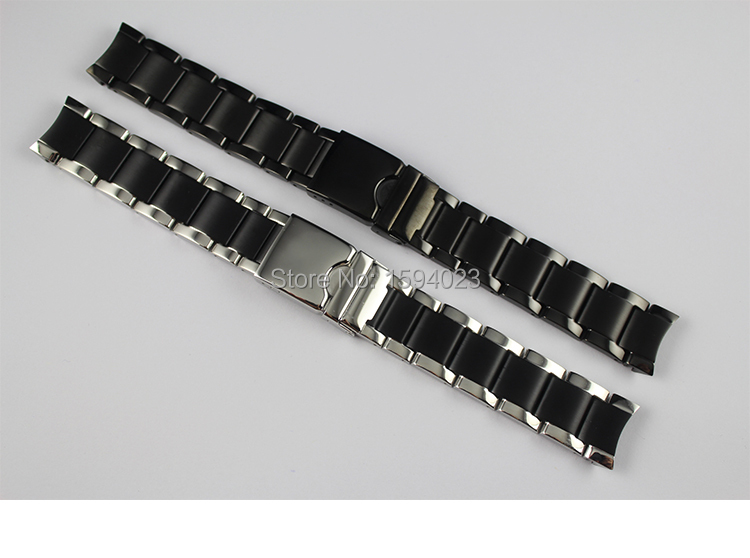 19mm T095417A Watchband Watch Parts male strip Solid Black Stainless steel bracelet Folding Buckle strap For