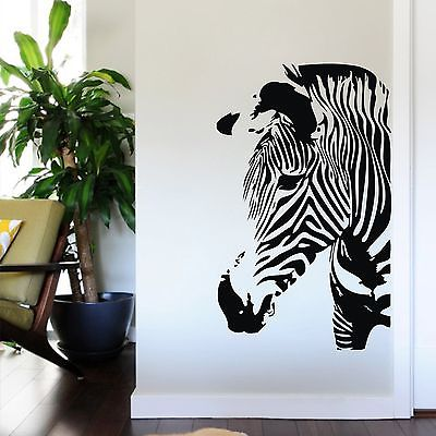 Large Size Black Zebra Wall Decal Sticker Home Art Living Room Decor Vinyl  Mural(China
