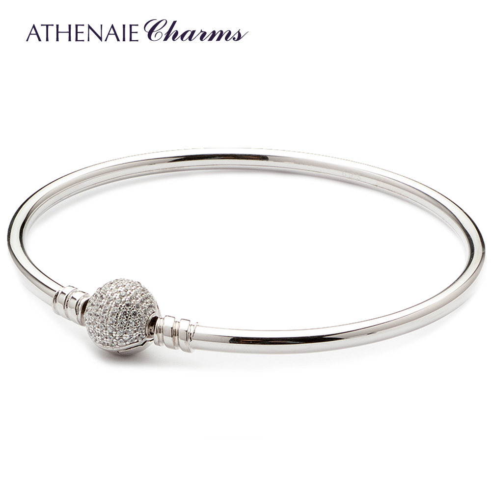ATHENAIE 925 Sterling Silver Basic Charms Bracelet Bangle Pave Clear CZ Snap Clasp Fit All European