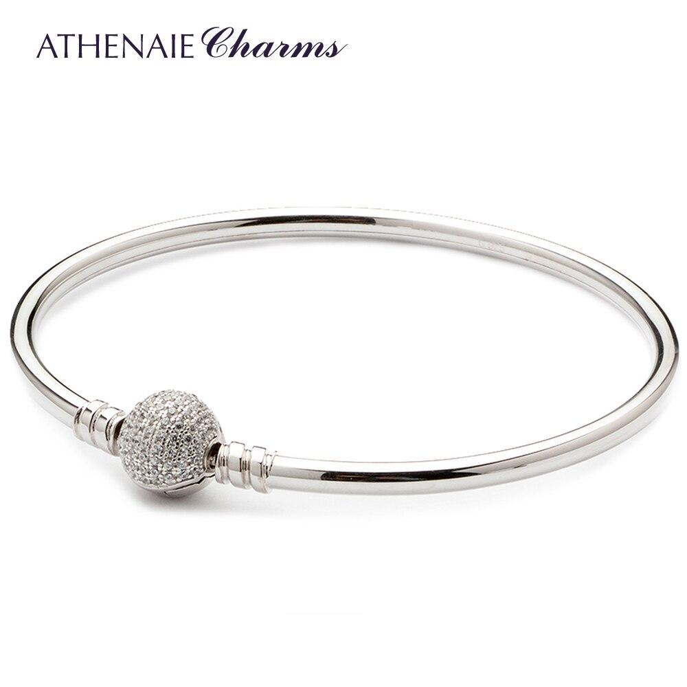 ATHENAIE 925 пробы серебро Основные талисманы браслет и проложить Ясно CZ оснастки застежка подходит для всех европейских бусины