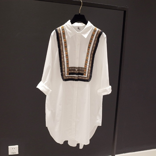 Womens Tops and Blouses Plus Size White Blouse Turn Down Collar Long Sleeve Embroidery Casual Women Tops