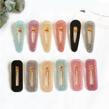 Korea Hollow Geometric Waterdrop Acrylic Hair Clips Shiny Tin Foil Sequins Hairpins Women Girls Barrettes Accessories